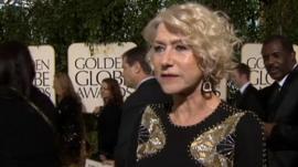 Dame Helen Mirren at the Golden Globes