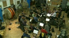 Orchestra recording the new BBC World title music