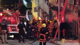Fire crews outside nightclub