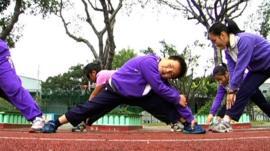 Children exercising in Taiwan