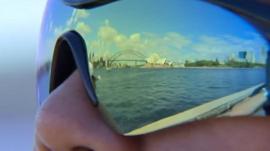 Man wears sunglasses