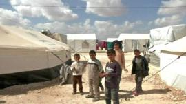 Children in a refuges camp
