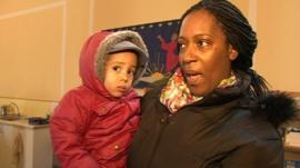 Woman and child at food bank