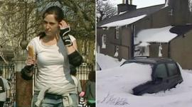 Girl eating ice lolly in March 2012 and snow in 2013