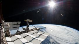 International Space Station in the sunlight