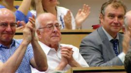 Prof Peter Higgs at the announcement of the discovery of the Higgs boson