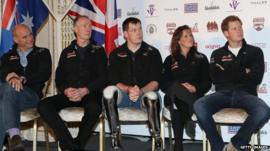 Prince Harry and members of the Walking With The Wounded South Pole Allied Challenge team