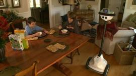 Grady's robot at home with Grady's brothers