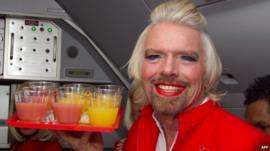Richard Branson dressed as a woman