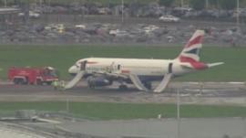 BA plane on runway after emergency landing