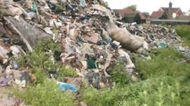 Illegally dumped waste