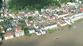 Aerial view of houses and flood water