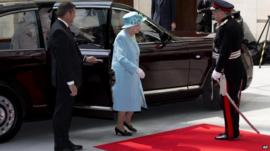 The Queen arrives at Broadcasting House