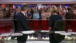 The Queen outside BBC News Channel studio