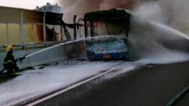 The burnt out bus