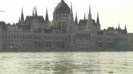 Flood waters near Hungarian parliament