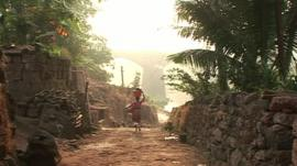 Woman on road in rural India
