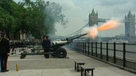 Gun salute at Tower Bridge