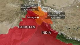 Map showing Kashmir