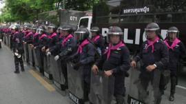 Police guard Thailand's parliament