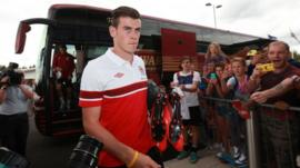 Gareth Bale arrives at a Wales training camp in Newport in August 2013