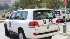 A vehicle marked UN used by United Nations inspectors