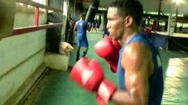Boxer in training in Cuba