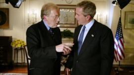 Sir David Frost with George Bush
