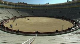 Inside a bullring arena in Madrid that will be turned into an Olympic stadium