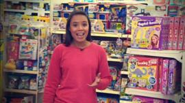 Leah in a toy shop