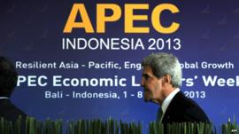 US Secretary of State John Kerry in front of Apec summit sign