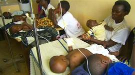 Children being treated for malaria