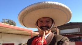 A cowboy at a Mexican rodeo