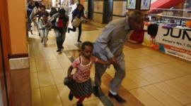 People run for safety in the Westgate shopping centre