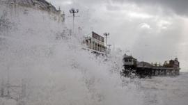 Storm batters Brighton Pier