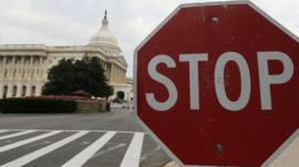 A stop sign sits near the US Capitol in Washington on 1 October 2013
