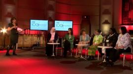 BBC presenter Razia Iqbal with the media panel
