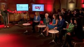 Panellists (l-r): Justine Roberts, Selma James, Laura Perrins, Klara Dobrev, Kamila Shamsie and Jody Day