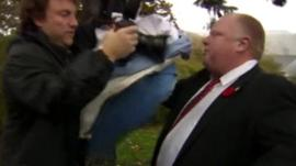 Toronto Mayor Rob Ford in a skirmish with a cameraman