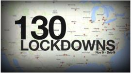 Map of the US showing locations where schools were in lockdown between 9 Nov and 9 Dec 2013