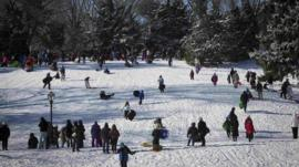 People sledging in Central Park, New York