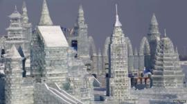 Large snow sculpture at Harbin International Ice Festival