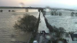Flooded road in Somerset