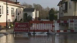 Flooded housing estate