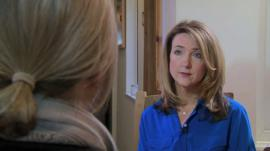 Abuse victim (anonymous) sits with Victoria Derbyshire