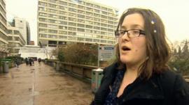 Woman outside St Thomas' Hospital