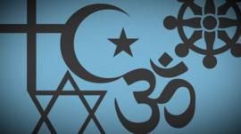 Illustration of various religious symbols