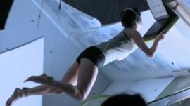 Sandra Bullock being filmed