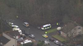Aerial view of police activity in street