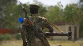 South Sudanese People Liberation Army (SPLA) soldier patrols in Malakal